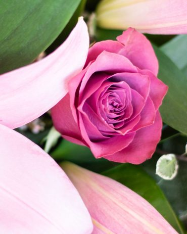 Pink Lily and Rose Bouquet-2