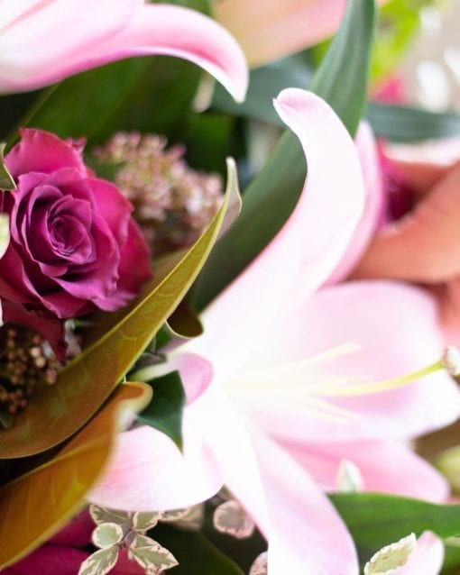 Pink Lily and Rose Bouquet-3